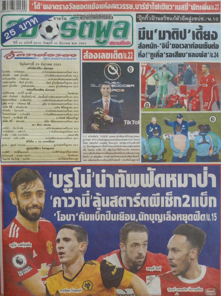 หนังสือพิมพ์กีฬา สปอร์ตพูล ประจำวันที่ 29/12/2020